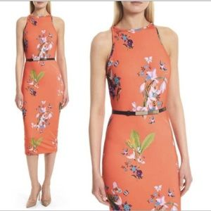 Ted Baker Red Joelia Tropical Oasis Bodycon Dress